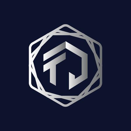 T J Initial letter hexagonal logo vector