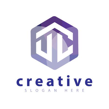 U C Initial letter hexagonal logo vector