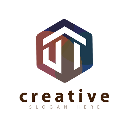 U I Initial letter hexagonal logo vector