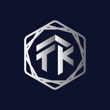 T K Initial letter hexagonal logo vector