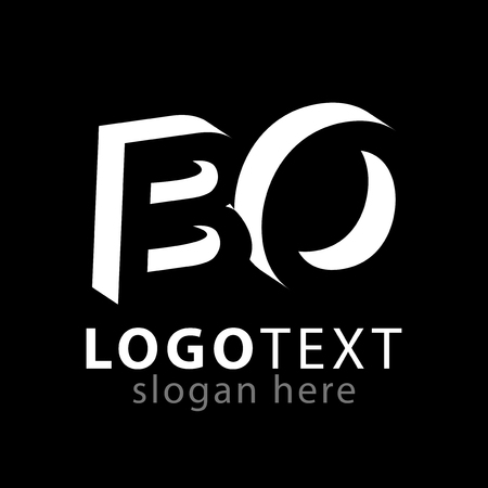 BO initial letter with negative space logo icon vector template