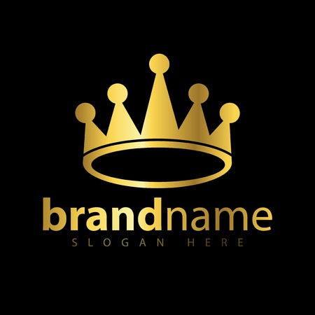 Crown gold logo icon vector template Illustration