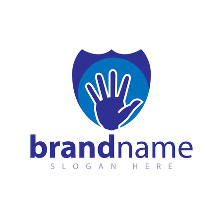 hand and shield logo icon vector template