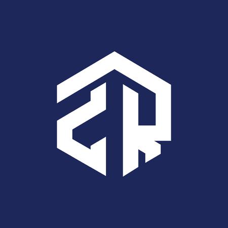 ZR Initial letter hexagonal logo vector