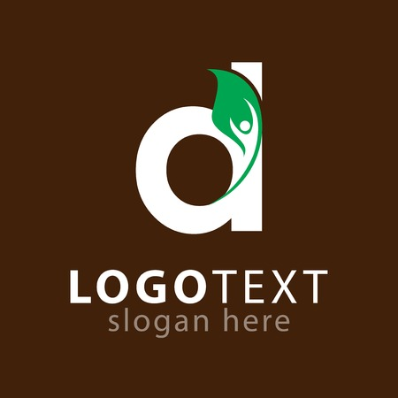 d letter with leaf people logo icon vector template