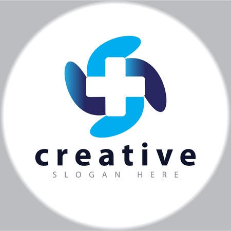 cross medical logo design template  イラスト・ベクター素材