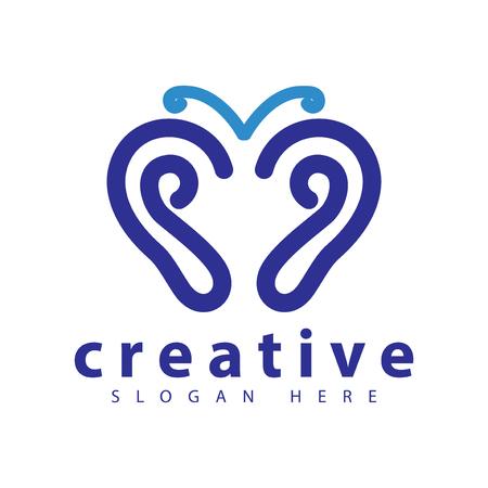 Schmetterling Hören Sie Logo-Symbolvektorschablone