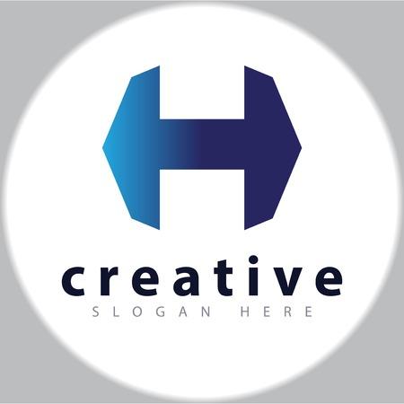 H letter hexagonal logo design vector template