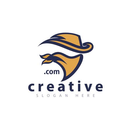 Cowboy head logo icon vector template Illustration