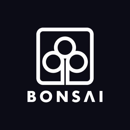 line bonsai abstract logo design template