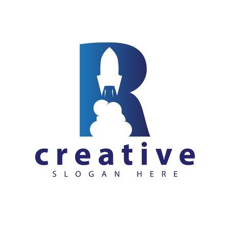 R Rocket logo icon vector template Ilustrace