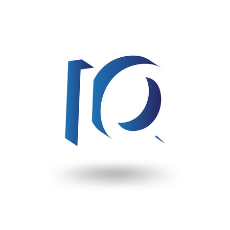 IQ initial letter with negative space logo icon vector template Çizim