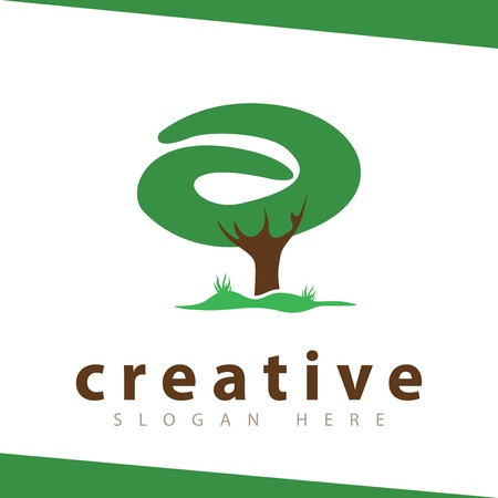 A Letter tree green logo vector template