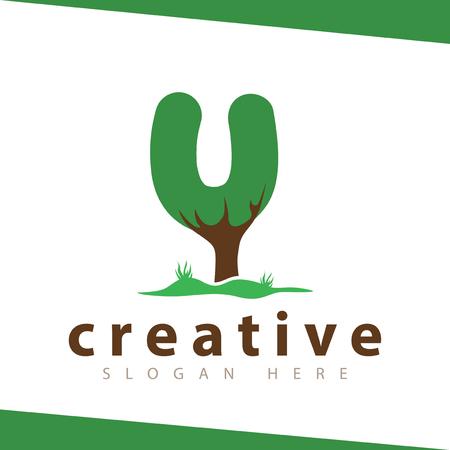 U Letter tree green logo vector template