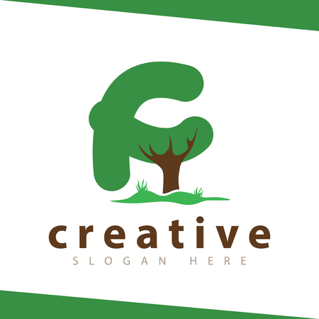 f Letter tree green logo vector template