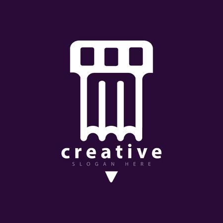 Pen Film Logo icon Vector template Ilustração