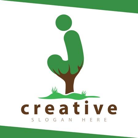 j Letter tree green logo vector template