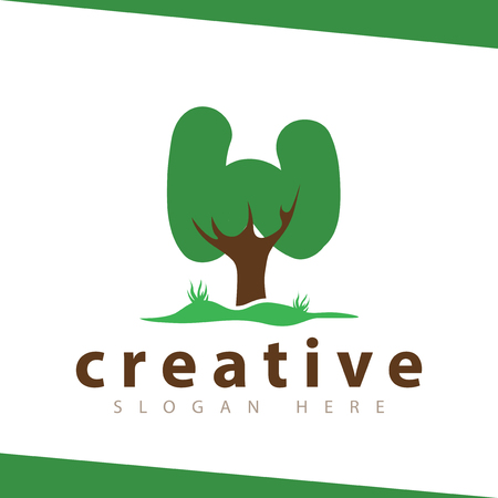 W Letter tree green logo vector template