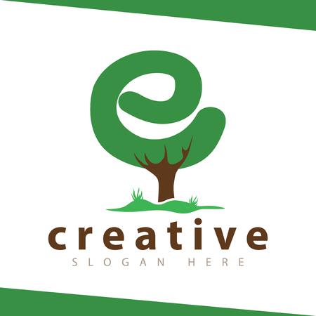 e Letter tree green logo vector template
