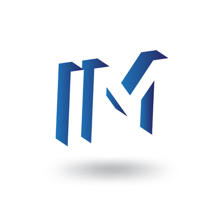 I M initial letter with negative space logo icon vector template