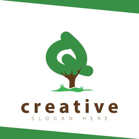 Q Letter tree green logo vector template