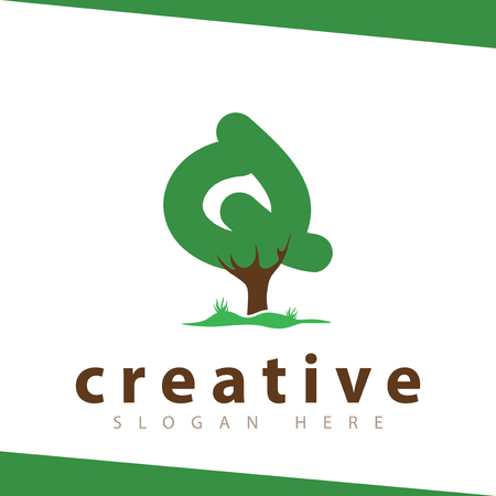 Q Letter tree green logo vector template
