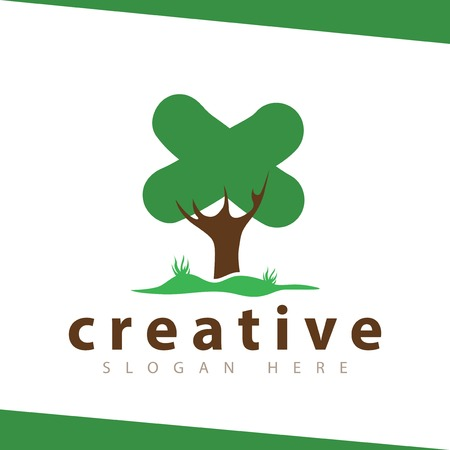 x Letter tree green logo vector template