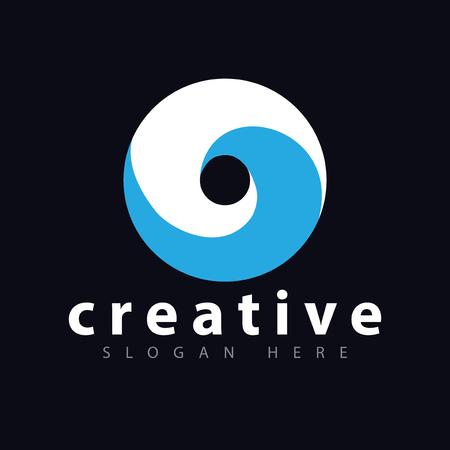 circle Wave Lens logo vector Template