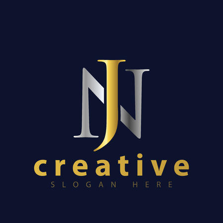 NJ initial letter icon vector template