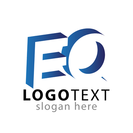 E Q initial letter with negative space icon vector template