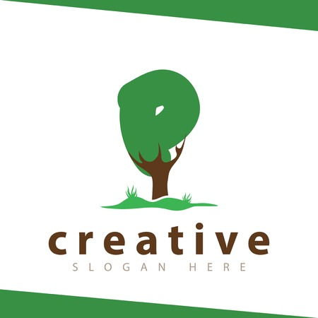 P Letter tree green vector template