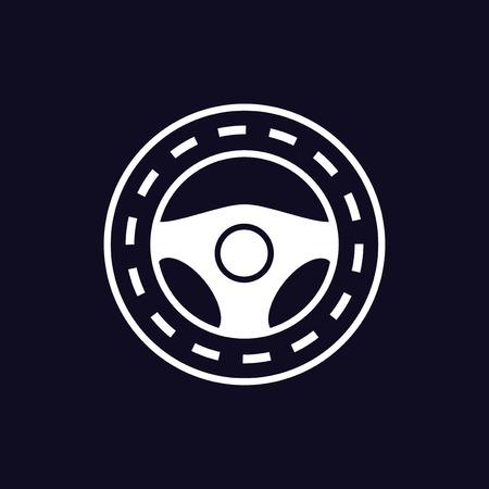 steering wheel logo icon vector template