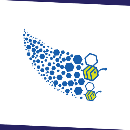 flying bee colonies logo icon vector template