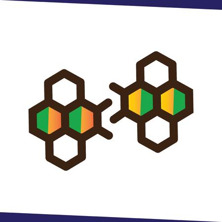 bee hexagonal logo icon vector template