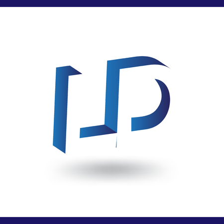 L D initial letter with negative space logo icon vector template