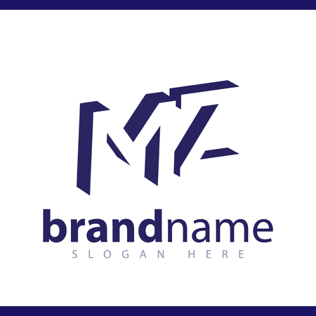 M Z initial letter with negative space logo icon vector template