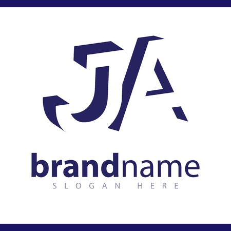 JA initial letter with negative space logo icon vector template 일러스트