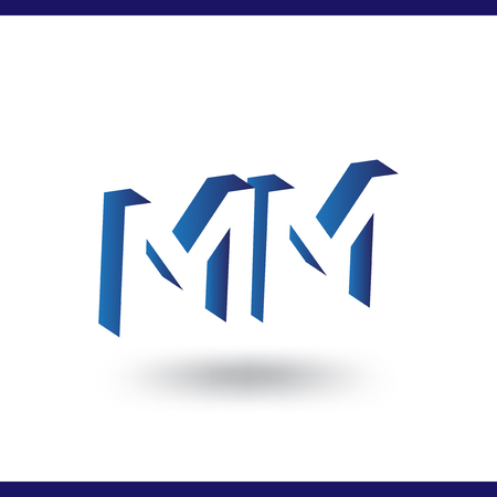 MM initial letter with negative space logo icon vector template