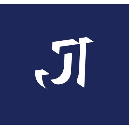 J I initial letter with negative space logo icon vector template