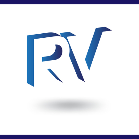 RV initial letter with negative space logo icon vector template