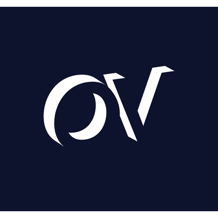 O V initial letter with negative space logo icon vector template