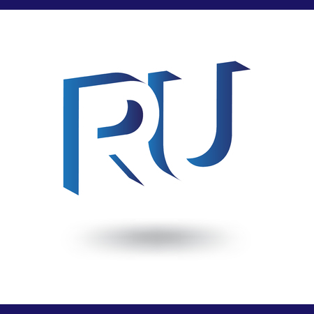 RU initial letter with negative space logo icon vector template 일러스트