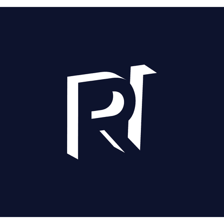 RI initial letter with negative space logo icon vector template