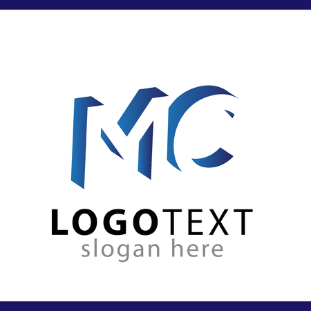 MC initial letter with negative space logo icon vector template