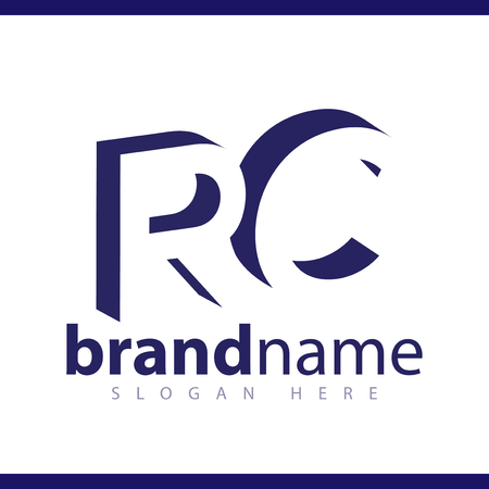 RC initial letter with negative space logo icon vector template