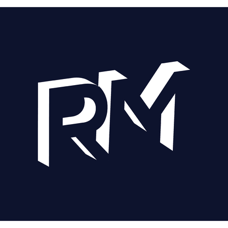 RM initial letter with negative space logo icon vector template
