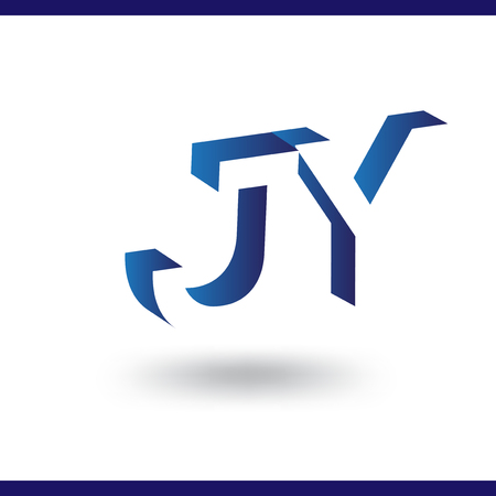 J Y initial letter with negative space logo icon vector template