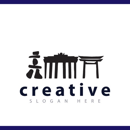chinese build culture logo vector template