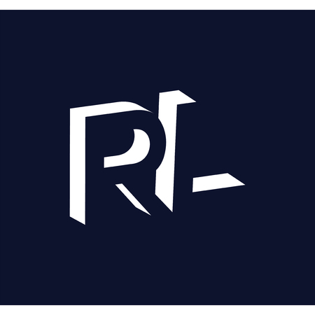 R L initial letter with negative space logo icon vector template