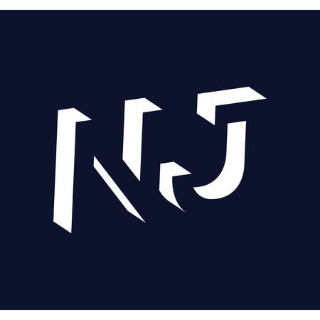 N J initial letter with negative space logo icon vector template 일러스트